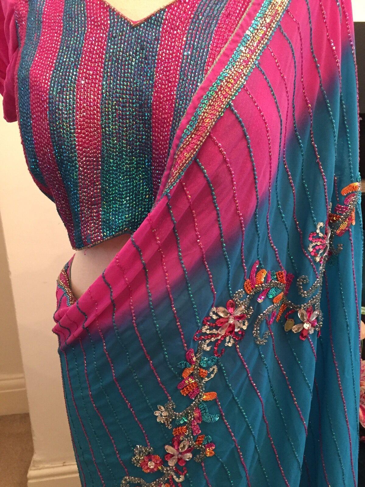 Taglia Taglia Taglia LARGE Mongas Southall BELLA Designer Sari Bollywood Matrimonio Blu rosa a69c39