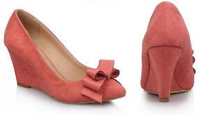 Décollte Scarpe decolte eleganti comode donna zeppa alta 8 cm rosa 9224