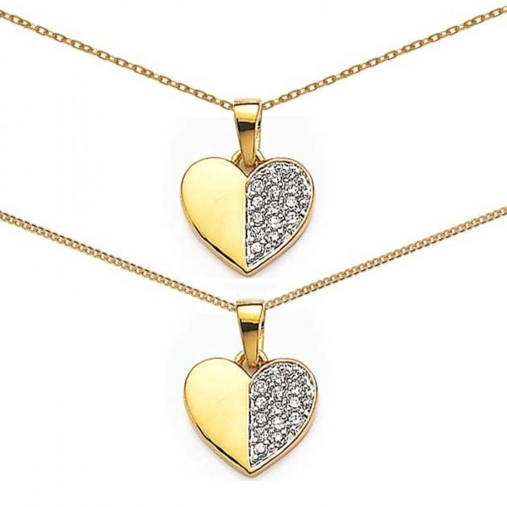 HEART PENDANT Half Geore half Plated plated nine gold+ CHAIN of your choice