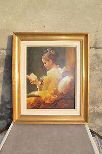 Belle-reproduction-d-039-Art-J-H-FRAGONARD-Jeune-fille-lisant-Impression-sur-toile