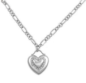 Heart Pendant Necklace Clear Simulated CZ .925 Sterling Silver