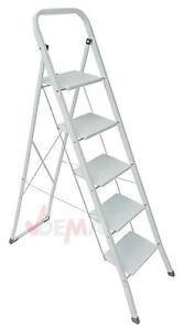 Klapptritt-Leiter-Haushaltsleiter-Klappleiter-Tritt-5-Stufen-150kg-weiss-915999