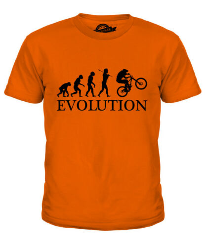 DOWNHILL MTB EVOLUTION KIDS T-SHIRT TEE TOP GIFT MOUNTAIN BIKE