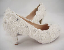 Handmade Ivory Floral Lace Bridal Shoes Pearl Rhinestone Wedding Shoes UK3-8