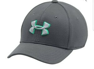 6363f8fdf75 Under Armour Boys  Blitzing II Stretch Fit Cap Graphite Vaporgreen ...