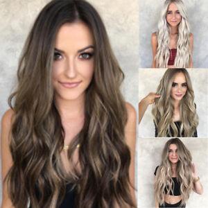 Donne-Mescolare-Colori-Gradiente-Lungo-Parrucca-Ondulato-Parrucca-capelli-70cm