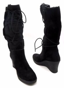 f3cb61477fe6e UGG AUSTRALIA Size 11 Black Suede Wedge Lace Up Knee High Boots | eBay