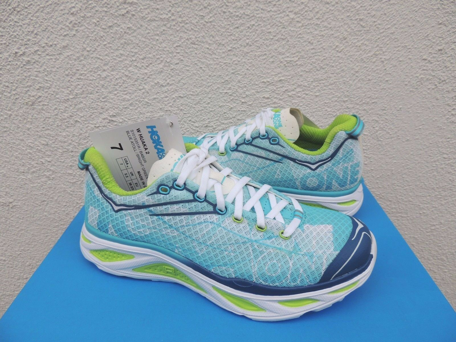 Hoka One One huaka 2 Azul atolón verde Trail Trail Trail Running Zapatos, EE. UU. 7 38 2 3 euros nuevo  bienvenido a elegir