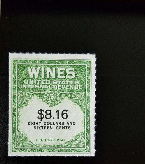 1951-54 $8.16 U.S. Internal Revenue Cordial & Wine, Gre
