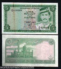 BRUNEI 5 RINGGIT P7 1984 SULTAN UNC- MOSQUE SINGAPORE CURRENCY MONEY BILL NOTE