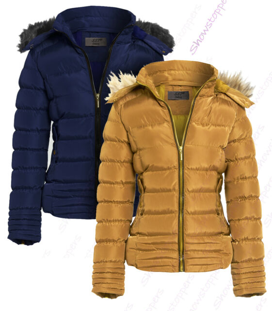 159069d51 Womens Quilted Jacket Padded Faux Fur Hood Coat Ladies Parka Sizes 8 10 12  14 16