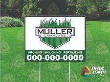 Custom Lawn Care 18x24 Yard Sign Coroplast Printed Single Sided W Free Stand
