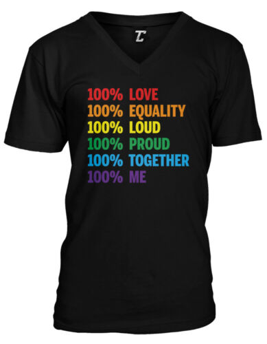 100/% Pride Love Equality Proud LGBTQ Rainbow LoveMensVee T-Shirt