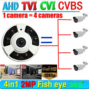 2MP Security CCTV 1080P HD TVI CVI AHD Camera 360° Wide Angle IR 1.44mm lens Cam
