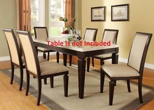 Image Is Loading High Back Contemporary Comfort Dining Chairs In Espresso