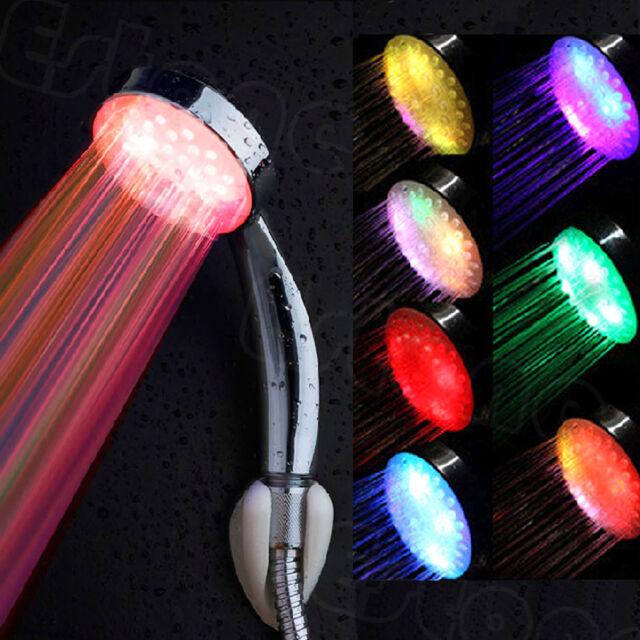Stainless Steel Colorful LED Light Round Rain Bathroom Shower Head