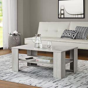 Dettagli su [en.casa] Tavolino da Salotto Rovere Bianco 100x60cm del  Soggiorno Legno