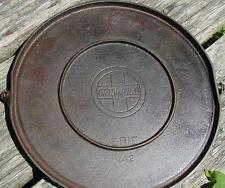 Griswold Erie Bail Handle Round Griddle 742 Cast Iron #14 Slant Logo inset ring