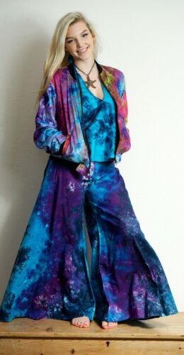 Pantaloni Palazzo Gamba Larga Tie Dye razzi Hippy Boho Pantaloni Larghi Stile Harem Cotone