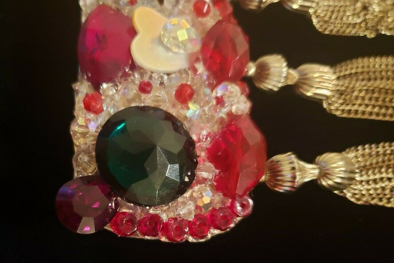 Rhinestone Crystal Red Clear Green Aurora Borealis Belt Buckle Wendy Gell Style