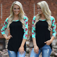 Womens Cotton Blouse Casual Tops Plus Size T-Shirt Loose Blouse Long Sleeve m1
