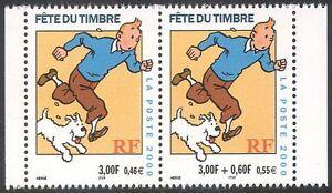 FRANCIA-2000-TINTIN-Cane-VIGNETTE-Timbro-Giorno-HERGE-Libri-ANIMAZIONE-2v-Set-PR-n32630