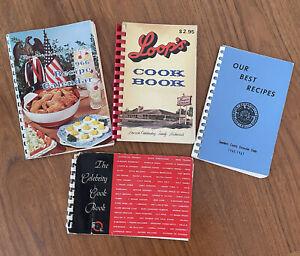 Lot of 4 1950s-60s Regional Spiral Cookbooks Vintage Recipes