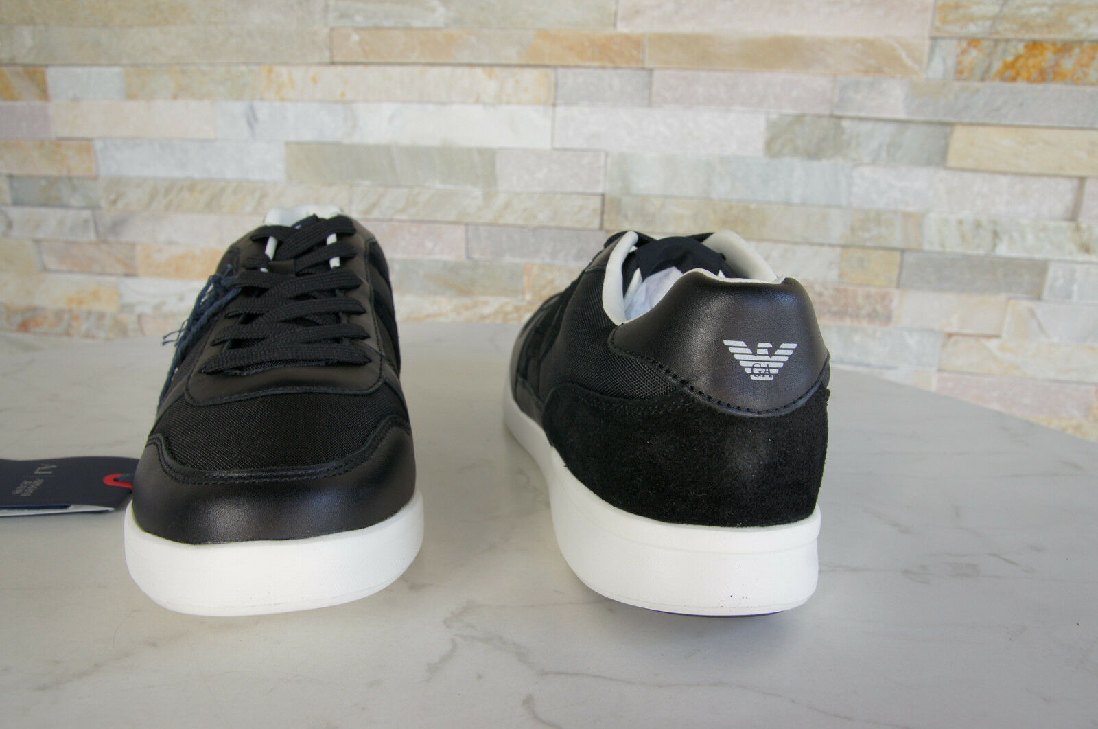 Armani Jeans Sneakers Trainers Size Shoes 44 Sport Shoes Size 6A441 New USA 10 Schwarz 522b12