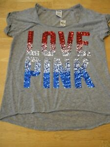 2661ee02ec5f0 Details about Victorias Secret Pink BLING Sequin American Flag patriotic  sequin Grey shirt M