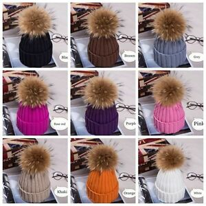 Hot-Women-Winter-Racoon-Fur-Pom-Pom-15cm-Ball-Knit-Beanie-Ski-Cap-Bobble-Hat