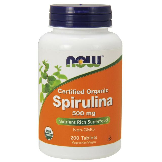 NOW Foods Certified Organic Spirulina 500 mg 200 Tablets FREE Shipping FRESH