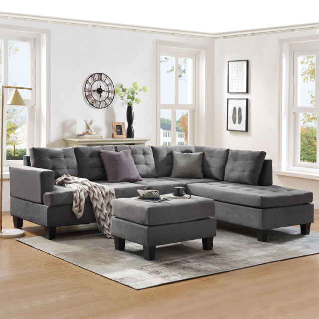 3-Piece Sectional Sofa w/Chaise Lounge and Storage Ottoman L-Shaped Couch  Gray