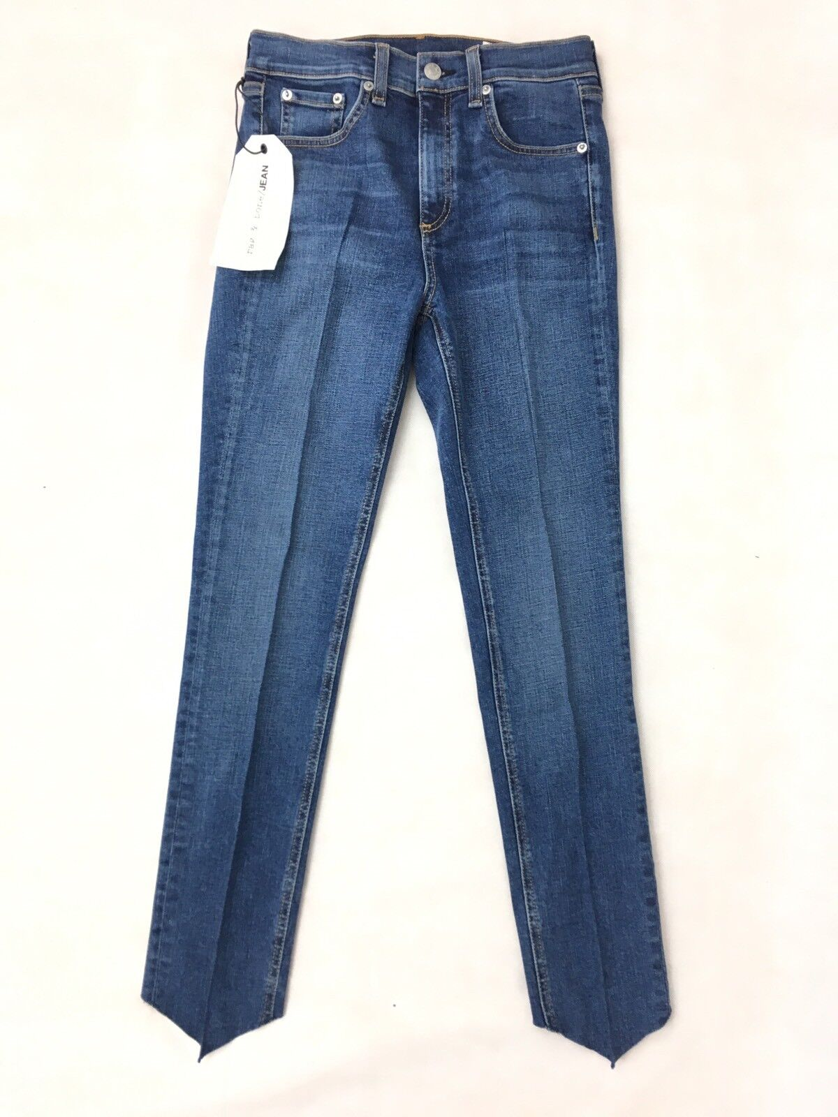 Rag & Bone Stepped Hem High-Rise Skinny Jeans - bluee - Size 25 - RRP  - New
