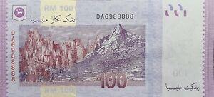 RM100-Malaysia-MBI-Sign-Fancy-Number-S-N-DA-6988888-GEM-UNC