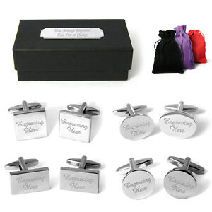 Engraved-Cufflinks-Cuff-Links-Personalised-Gift-Box-Wedding-Best-Man-Groom-Usher