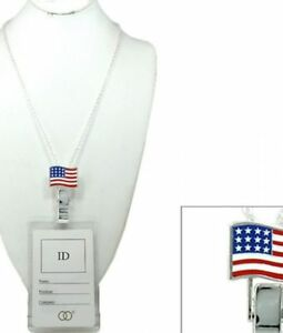Lanyard Badge/Id Holder With American Flag