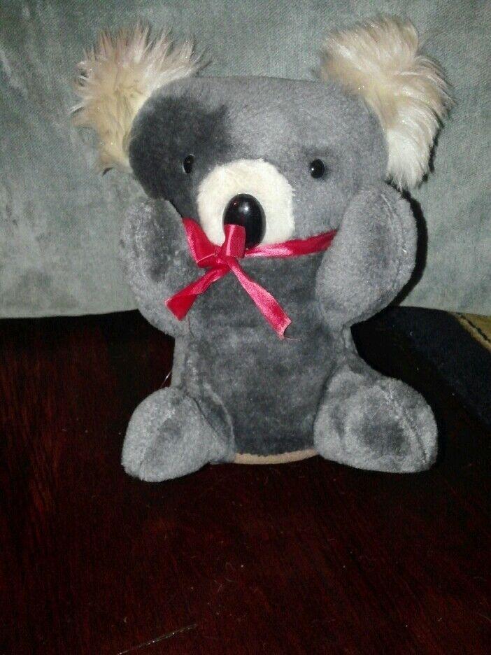 Koala Bear Vintage grau plush Superior Novelty Toys 10 in. ROT ribbon furry ears