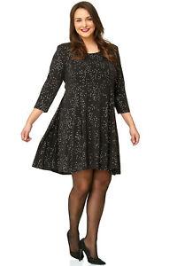 hot sale online 1bc0e 74bde Details zu Damen Tunika Kleid Langarm A-Linie Party schwarz silber 42 44 46  48 50 52 54 56