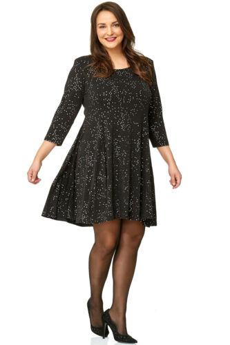 Damen Tunika Kleid Langarm A-Linie Party schwarz silber 42 44 46 48 50 52 54 56