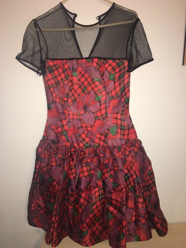 Vintage Stunning Red Floral Oscar De La Renta Tea Length Dress Size 8 Silk