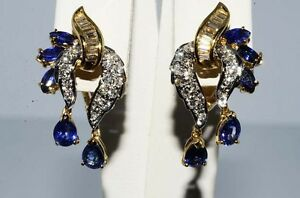 $6,800 3.06CT NATURAL BLUE SAPPHIRE & DIAMOND CLUSTER EARRINGS 18K YELLOW GOLD