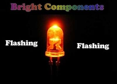 6000mcd 1st CLASS POST Ultra Bright 5 x Red Flashing LED 3mm - UK