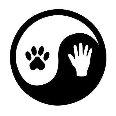 Hand and Pet Paw Yin Yang Symbol Car Window Laptop Vinyl Decal Sticker