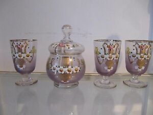 1920 1930 french enameled glass sugar bowl, 3 glasses wildflowers - France - Charming 1920-1930 enameled glass sugar bowl & 3 footed glasses decorated with enameled flowers (wildflowers)golden decoration (usual wears)very good condition (usual manufacturing imperfections)height 11,1cm (3,22-3,3inch) & 14,5cm (9,96inch) ca - France