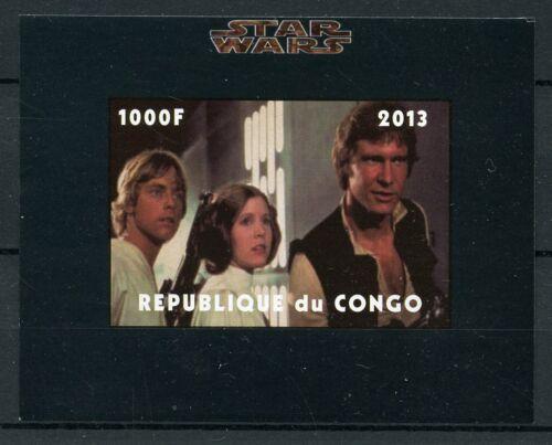 Star Wars Stamps 2013 MNH Luke Skywalker Princess Leia Han Solo 1v IMPF M//S