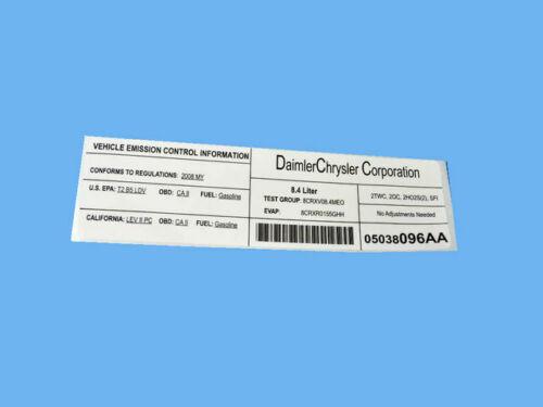 Genuine MOPAR Emission Label 5038096AA