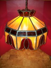 """Huge Vintage Leaded Stained Glass Swag Hanging  Lamp  21"""" at  base"""