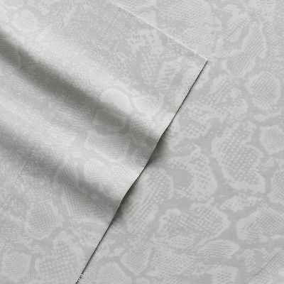 NEW! Juicy Couture Bedding Sheet Set Deep-pocket Sateen Silver Gray Pearl Python