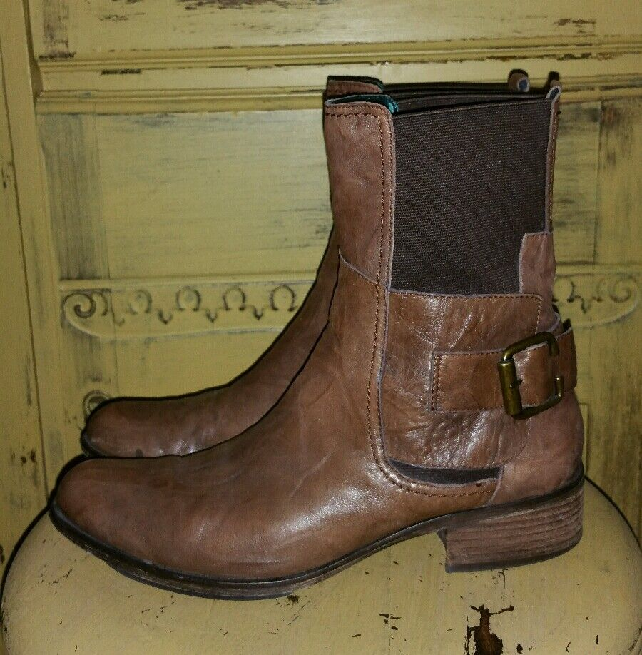 SAM EDELMAN KAROL LEATHER BROWN LADIES SHORT PULLON HARNESS RIDING BOOTS ANKLE 9