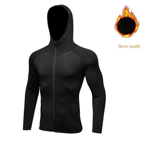 Hommes Fermeture Éclair Sweat à Capuche Full Zip Veste Entraînement Gym Top De Sport Avec Poches